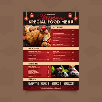 Modèle de menu de noël avec photo