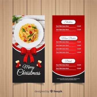 Modèle de menu de noël avec photographie