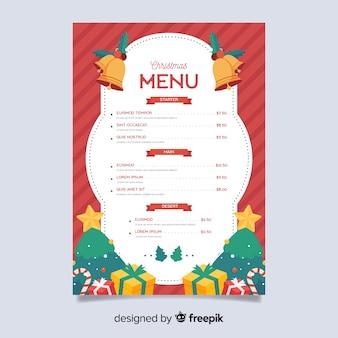 Modèle de menu de noël plat avec des cadeaux