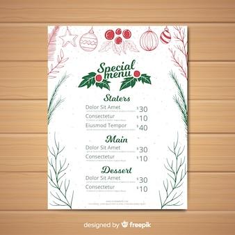 Modèle de menu de noël