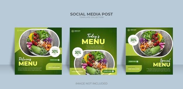 Modèle de menu de nourriture de conception de poste instagram de bannière