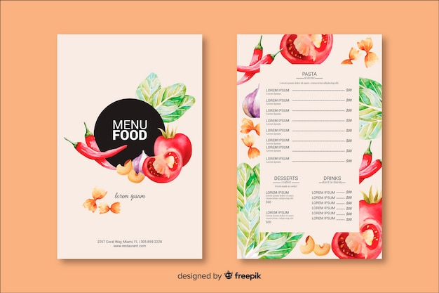 Modèle de menu de nourriture dessiné à la main