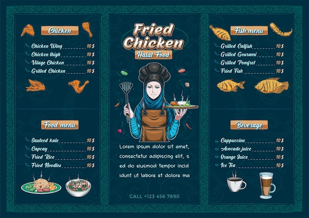 Modèle de menu de nourriture halal de restaurant