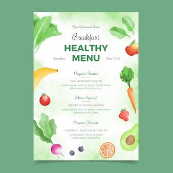 Modèle de menu de nourriture saine aquarelle