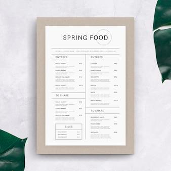 Modèle de menu de nourriture saine rétro