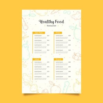 Modèle de menu de nourriture saine vintage