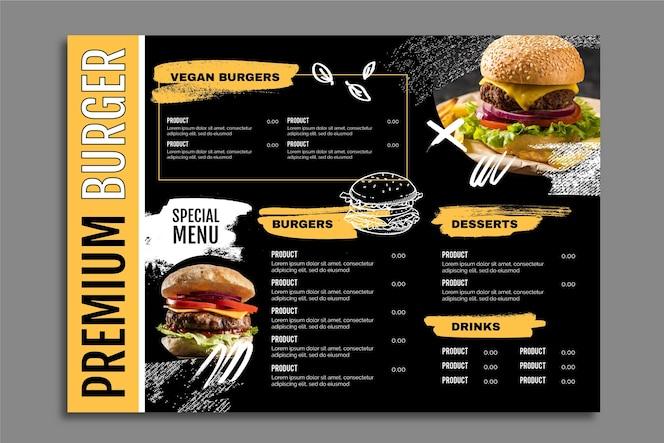 Modèle de menu de nourriture simple burger premium foncé