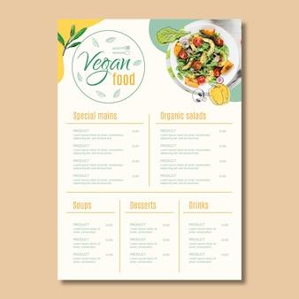 Modèle de menu de nourriture végétalienne