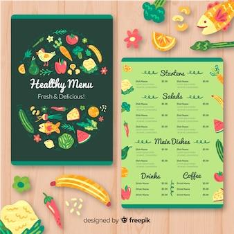 Modèle de menu organique coloré