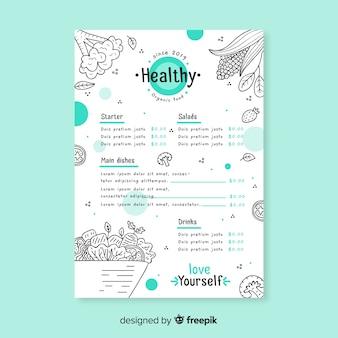Modèle de menu organique incolore
