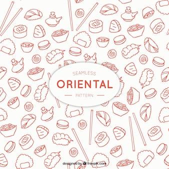 Modèle de menu oriental sketches