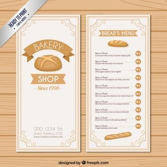 Modèle de menu pains