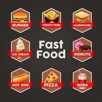 Modèle de menu de paquet de restauration rapide délicieux