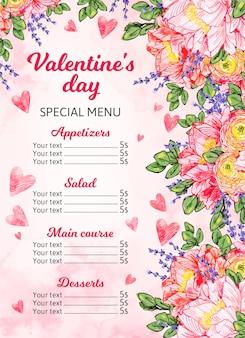 Modèle de menu peint pour la saint-valentin