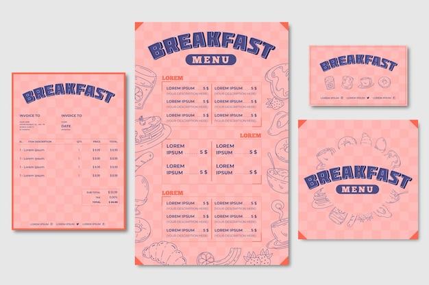 Modèle de menu de petit déjeuner et carte de visite