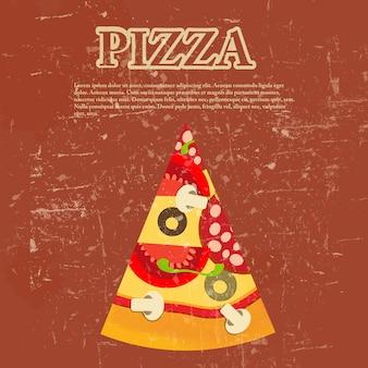 Modèle de menu de pizza dans un style vintage rétro grunge