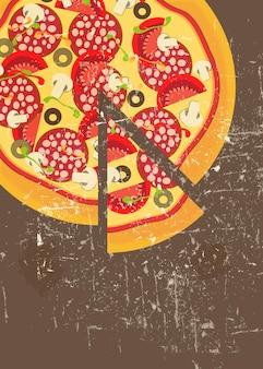 Modèle de menu de pizza en illustration vectorielle de style vintage rétro grunge