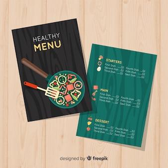 Modèle de menu plat sain