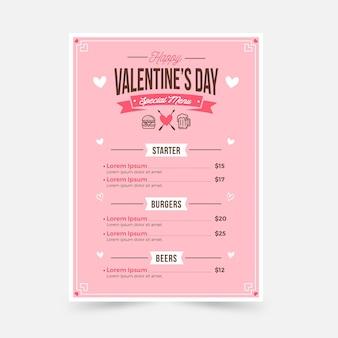 Modèle de menu plat saint valentin
