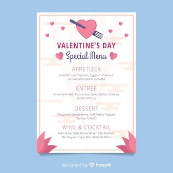 Modèle de menu plat valentine