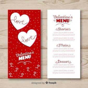 Modèle de menu en pointillé valentine
