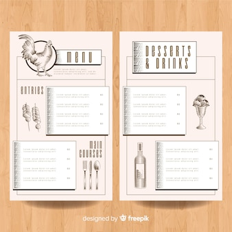 Modèle de menu de poulet dessiné à la main