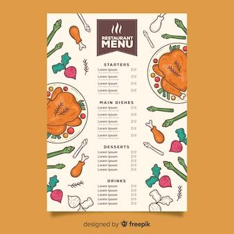 Modèle de menu de poulet farci