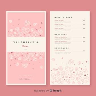 Modèle de menu pour le coeur saint valentin