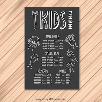 Modèle de menu pour les enfants avec un fond tableau noir