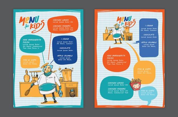 Modèle de menu pour enfants de vecteur.