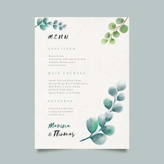 Modèle de menu pour mariage à l'aquarelle