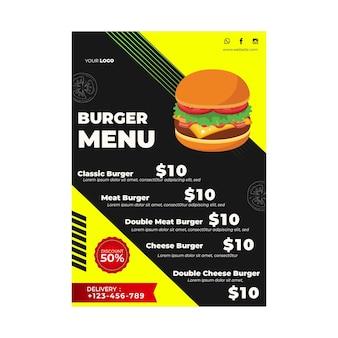 Modèle de menu pour restaurant de hamburgers