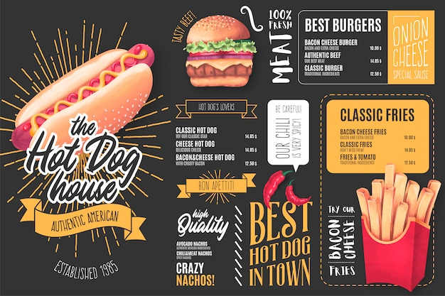 Modèle de menu pour restaurant de hot-dogs avec illustrations