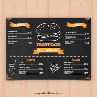 Modèle de menu pour restaurant de restauration rapide dans le style tableau noir
