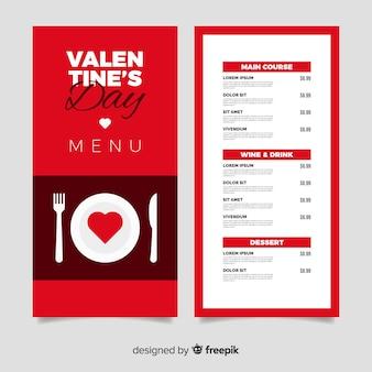 Modèle de menu pour la saint-valentin