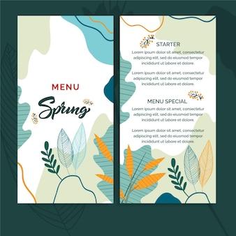 Modèle de menu de printemps design plat