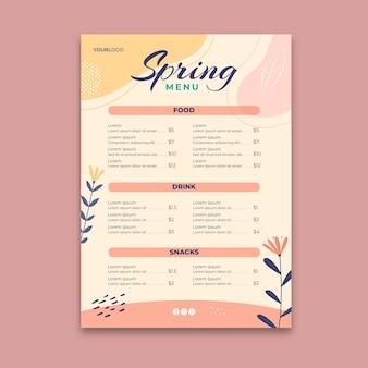 Modèle de menu de printemps