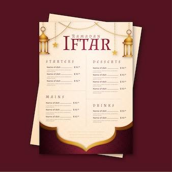 Modèle de menu ramadan avec lanternes