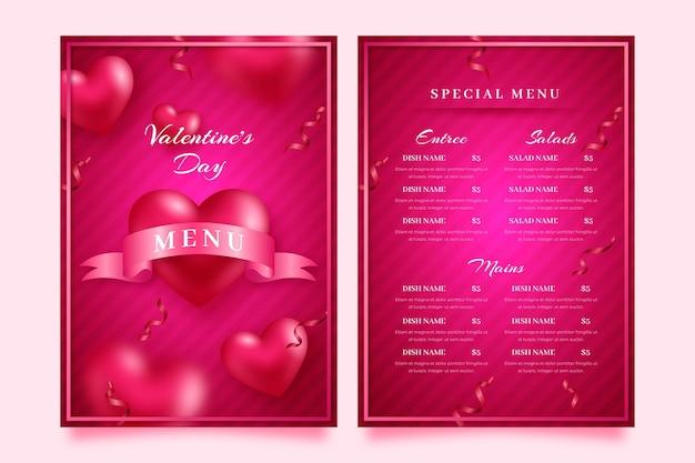 Modèle de menu réaliste de la saint-valentin