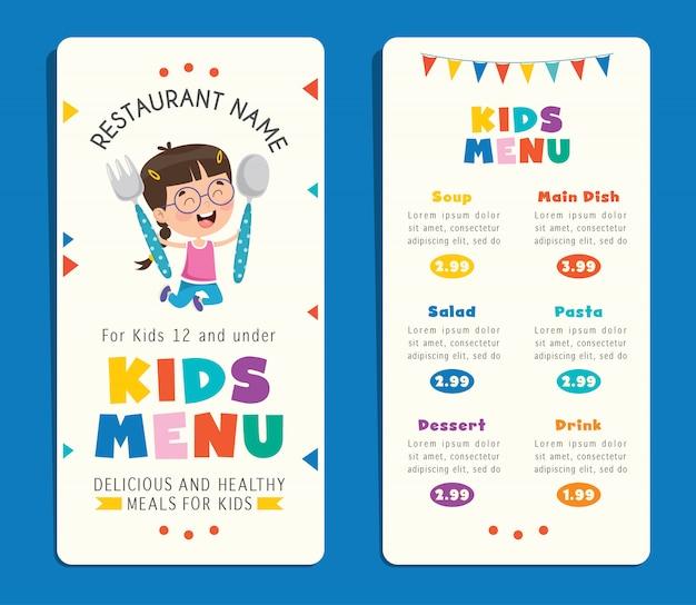 Modèle de menu de repas coloré enfants mignons