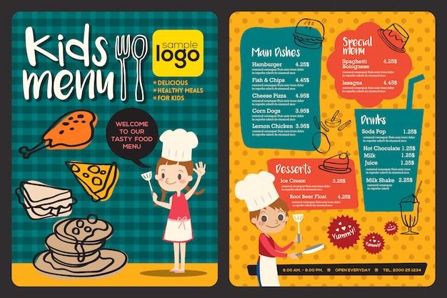Modèle de menu repas mignon enfants colorés