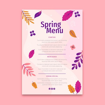 Modèle de menu à ressort plat