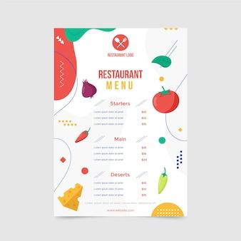 Modèle de menu de restaurant abstrait avec différentes formes