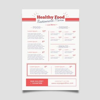 Modèle de menu de restaurant d'aliments sains