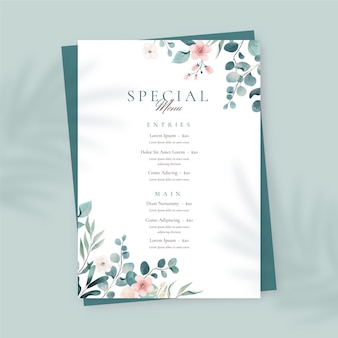 Modèle de menu de restaurant aquarelle peint à la main