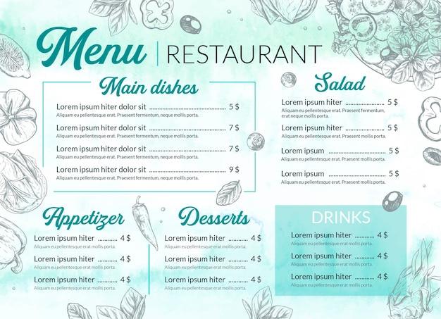 Modèle de menu de restaurant aquarelle