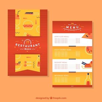 Modèle de menu de restaurant au design plat