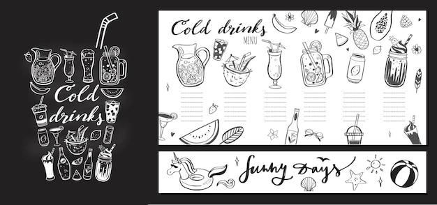 Modèle de menu de restaurant et bar avec illustration dessinée à la main