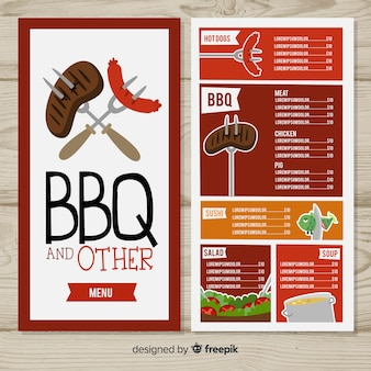 Modèle de menu de restaurant barbecue