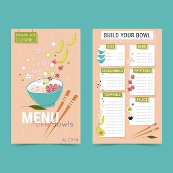Modèle de menu de restaurant avec bols poke traditionnels